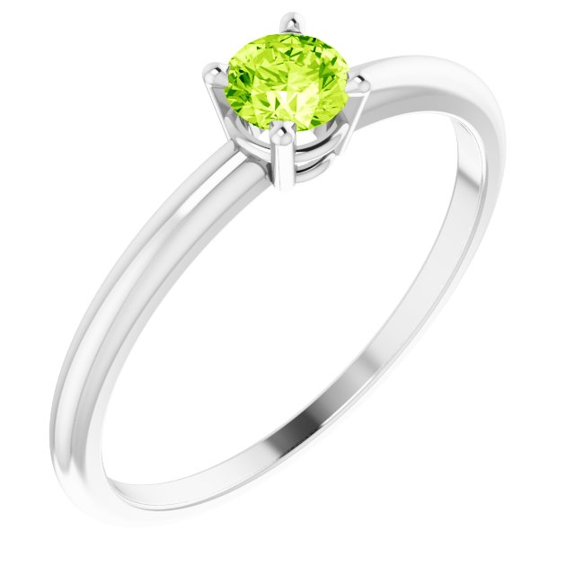 Sterling Silver 3 mm Round Imitation Peridot Birthstone Ring Size 3