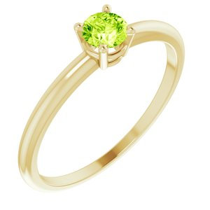 14K Yellow 3 mm Round Peridot Birthstone Ring Size 3