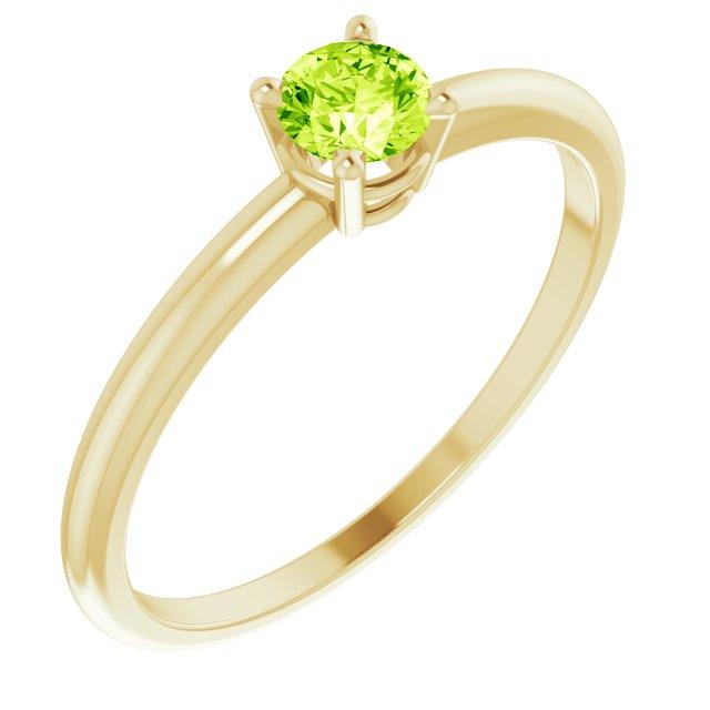 14K Yellow 3 mm Round Natural Peridot Ring Size 3