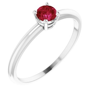 Sterling Silver 3 mm Round Imitation Ruby Birthstone Ring Size 3
