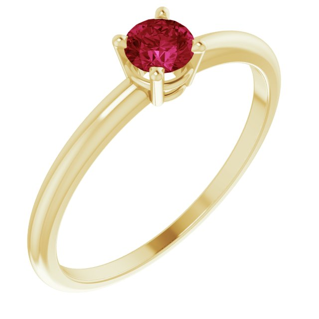 14K Yellow 3 mm Round Ruby Birthstone Ring Size 3