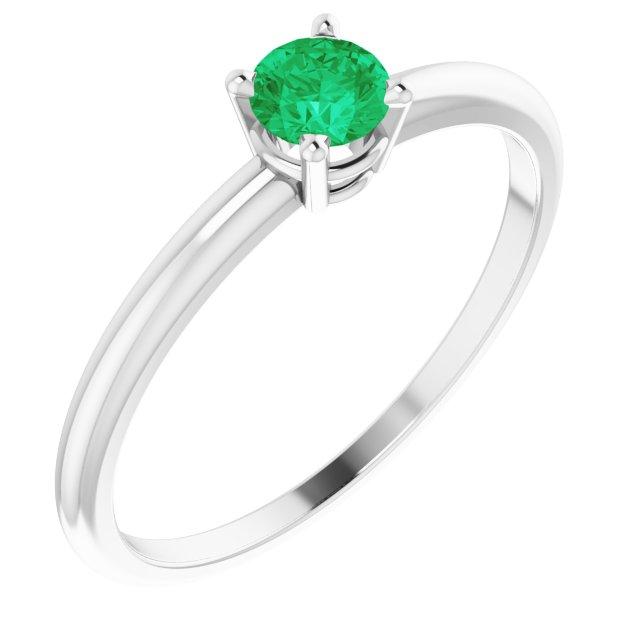 Sterling Silver 3 mm Round Imitation Emerald Birthstone Ring Size 3