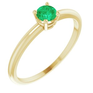 14K Yellow 3 mm Round Imitation Emerald Birthstone Ring Size 3