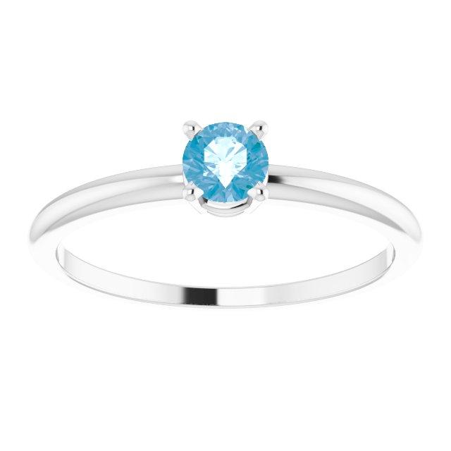 14K White 3 mm Round Swiss Blue Topaz Birthstone Ring Size 3