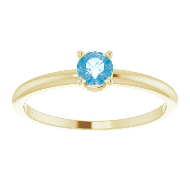 14K Yellow 3 mm Round Swiss Blue Topaz Birthstone Ring Size 3