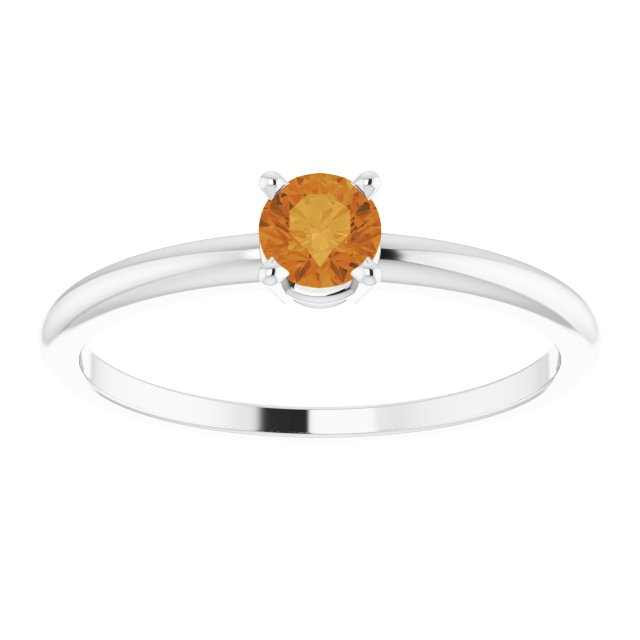 Sterling Silver 3 mm Round Imitation Citrine Birthstone Ring Size 3