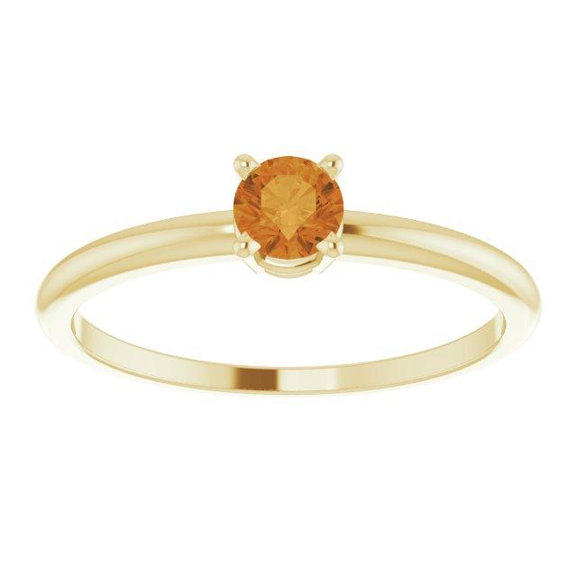 14K Yellow 3 mm Round Citrine Birthstone Ring Size 3