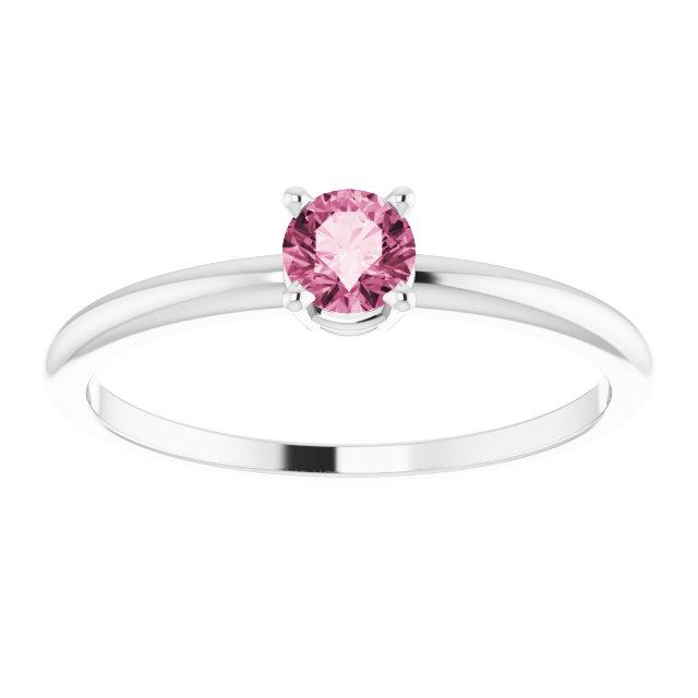 14K White 3 mm Round Pink Tourmaline Birthstone Ring Size 3