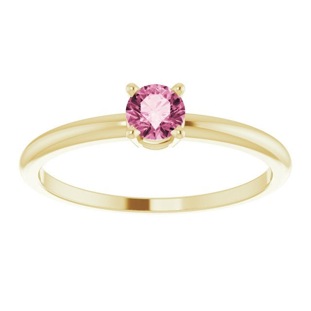 14K Yellow 3 mm Round Imitation Pink Tourmaline Birthstone Ring Size 3