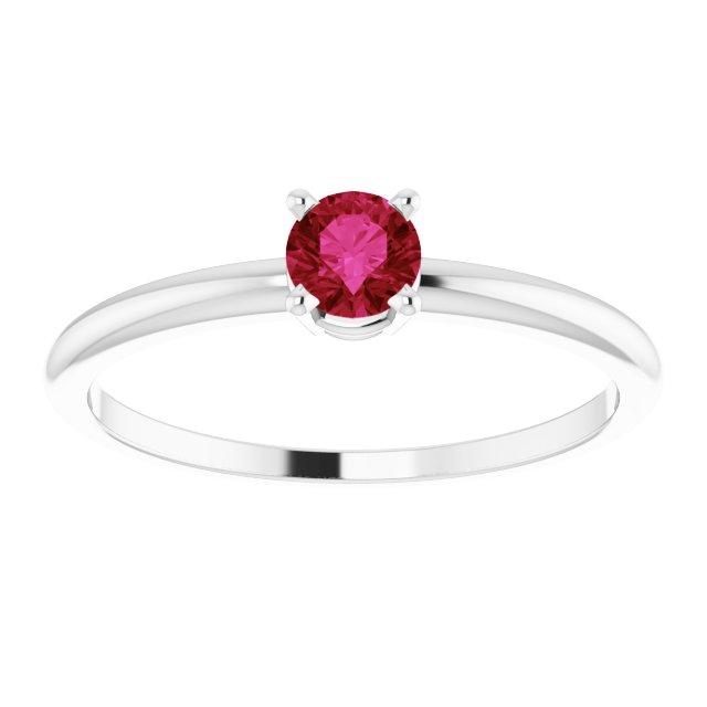 Sterling Silver 3 mm Round Imitation Ruby Birthstone Ring Size 3
