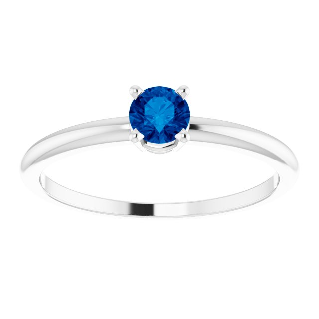 Sterling Silver 3 mm Round Imitation Blue Sapphire Birthstone Ring Size 3