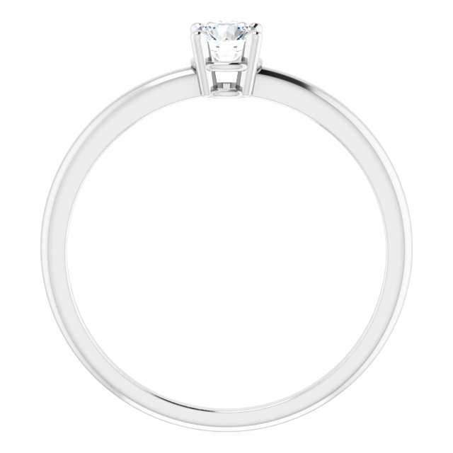 Sterling Silver 3 mm Round Imitation Diamond Ring Size 3