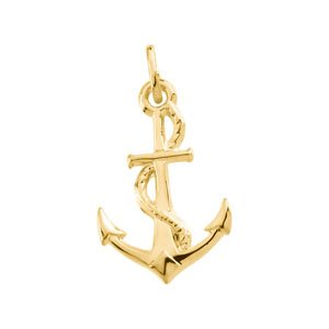14K Yellow 22x14 mm Anchor Pendant