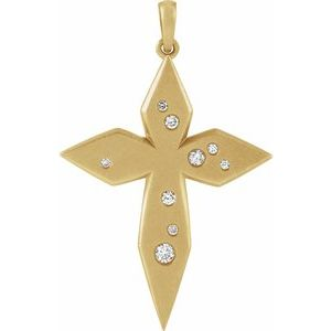 14K Yellow .08 CTW Diamond Cross Pendant