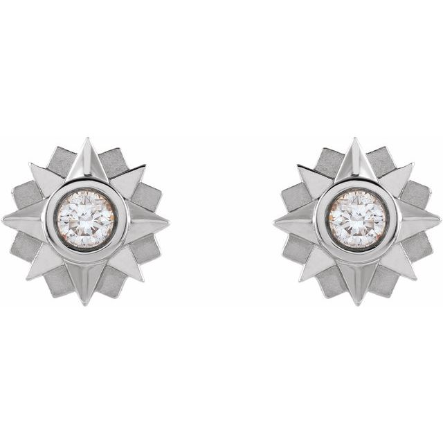 14K White 1/3 CTW Diamond Sun Earrings