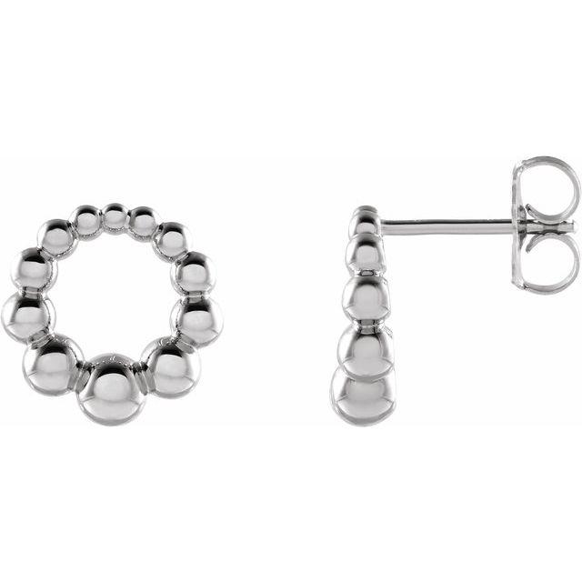 Sterling Silver Graduated Beaded Circle Earrings