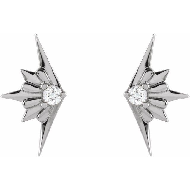 Sterling Silver .03 CTW Diamond Starburst Earrings