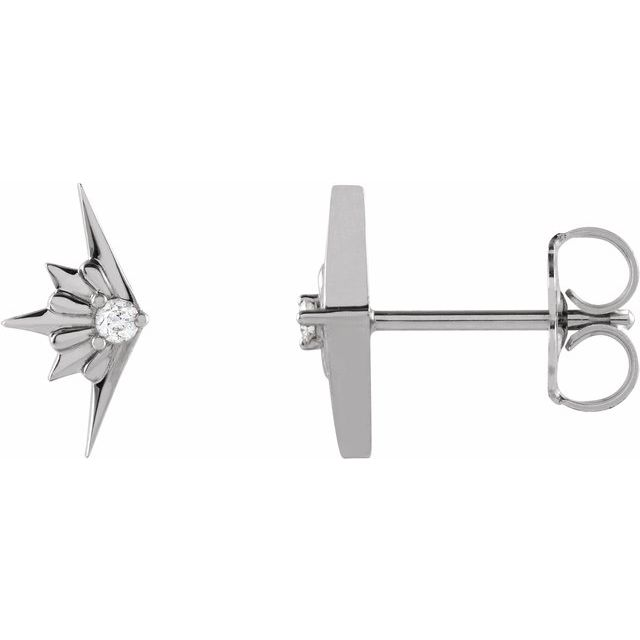Sterling Silver .03 CTW Diamond Starburst Earrings