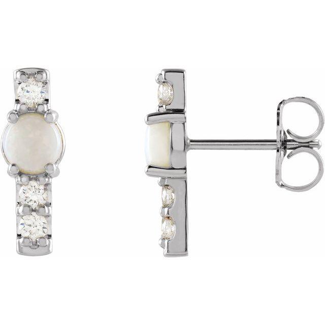 14K White Ethiopian Opal & 1/5 CTW Diamond Bar Earrings