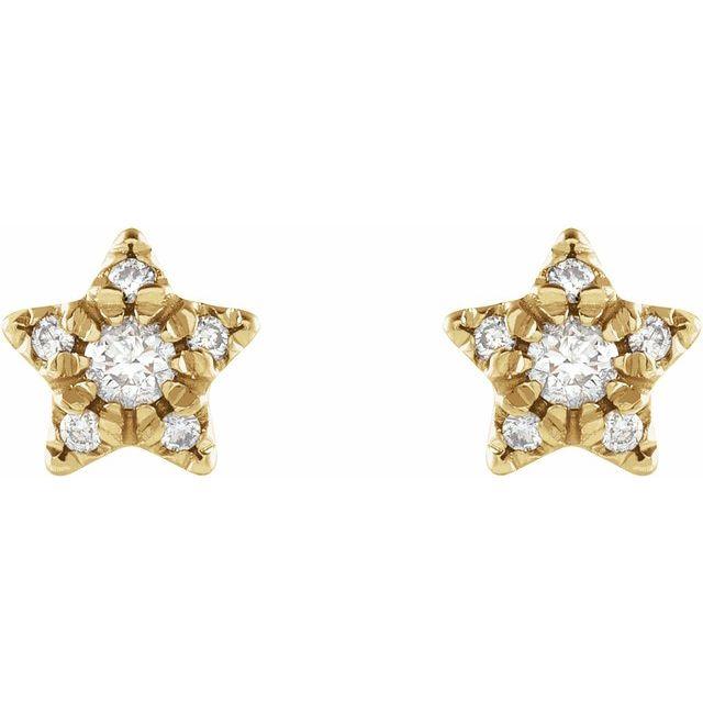 14K Yellow 1/10 CTW Diamond Star Earrings