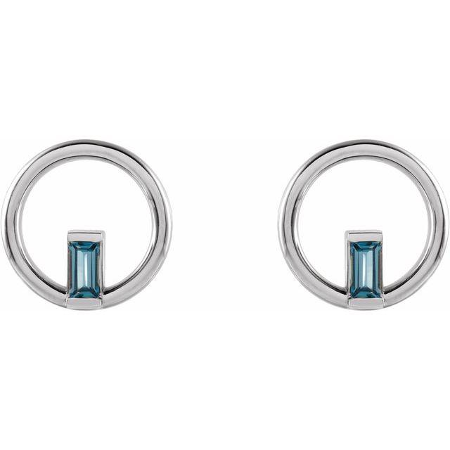 Sterling Silver London Blue Topaz Baguette Circle Earrings