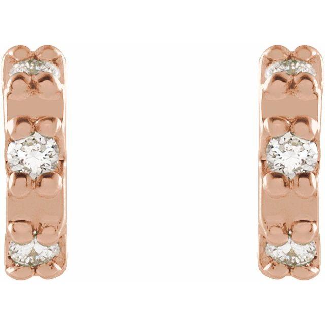 14K Rose .04 CTW Diamond Half Circle Earrings