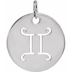 14K White 16.5 mm Gemini Zodiac Disc Pendant