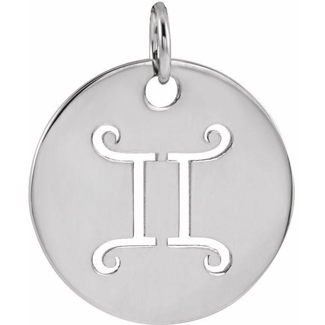 Sterling Silver 16.5 mm Gemini Zodiac Disc Pendant