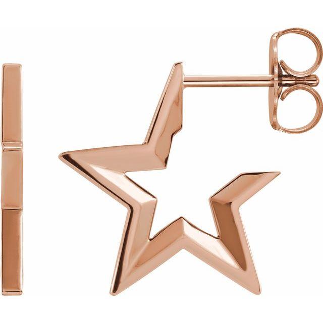 14K Rose Star Hoop Earrings