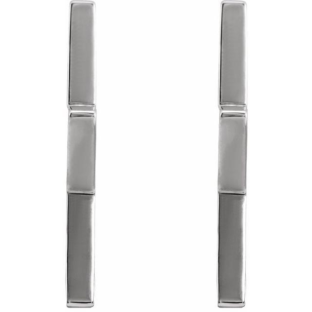 14K White Star Hoop Earrings