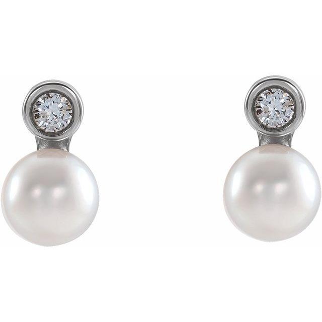 14K White Akoya Cultured Pearl & .03 CTW Diamond Bezel-Set Earrings