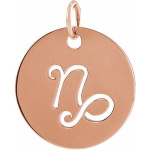 14K Rose 16.5 mm Capricorn Zodiac Disc Pendant