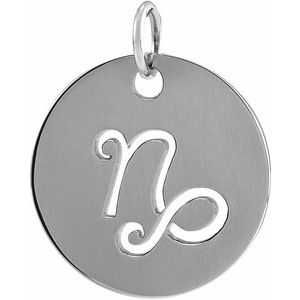 14K White 16.5 mm Capricorn Zodiac Disc Pendant