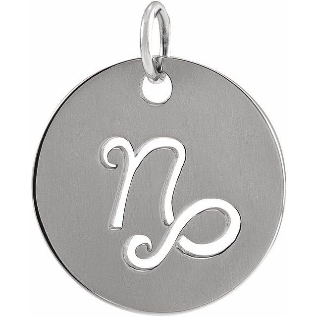 Sterling Silver 16.5 mm Capricorn Zodiac Disc Pendant