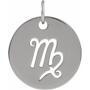 14K White 16.5 mm Virgo Zodiac Disc Pendant