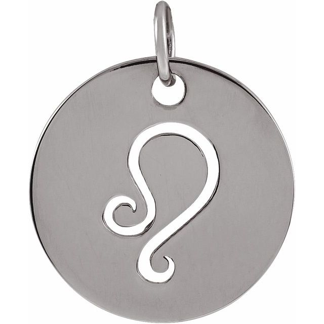 Sterling Silver 16.5 mm Leo Zodiac Disc Pendant