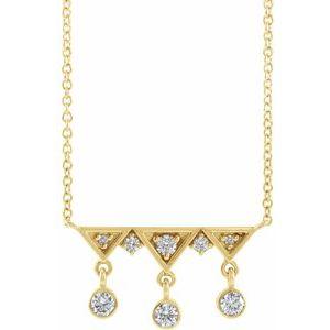"14K Yellow 1/5 CTW Diamond Fringe Bar 18"" Necklace"