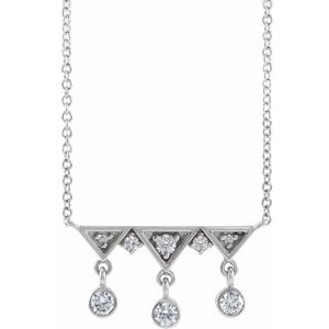 "14K White 1/5 CTW Diamond Fringe Bar 18"" Necklace"