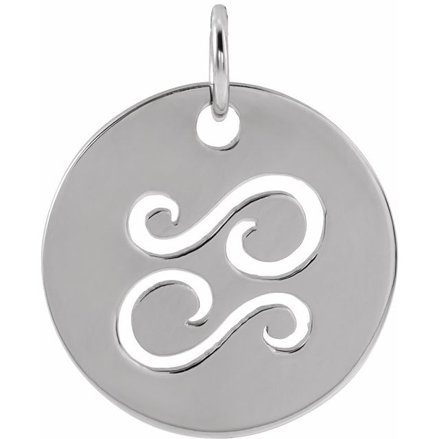 Sterling Silver 16.5 mm Cancer Zodiac Disc Pendant