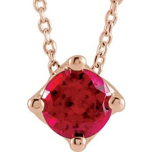 "14K Rose Chatham® Created Ruby Solitaire 16-18"" Necklace"