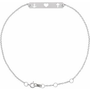 "14K White Faith, Love, Hope Bar 6 1/2-7 1/2"" Bracelet"