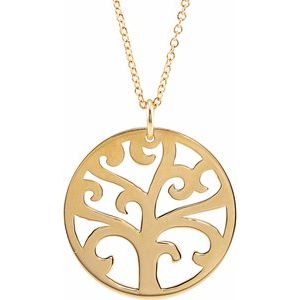 "14K Yellow 20 mm Tree 16-18"" Necklace"