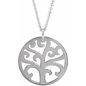 """Sterling Silver 20 mm Tree 16-18"""" Necklace"""