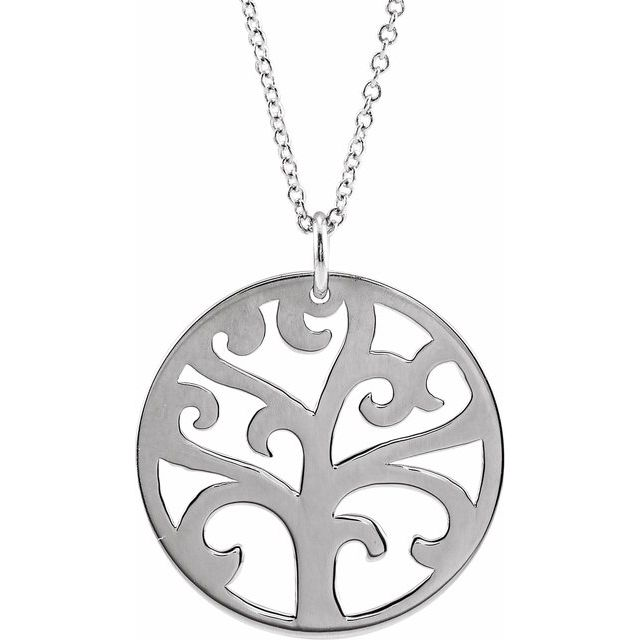 """14K White 20 mm Tree 16-18"""" Necklace"""