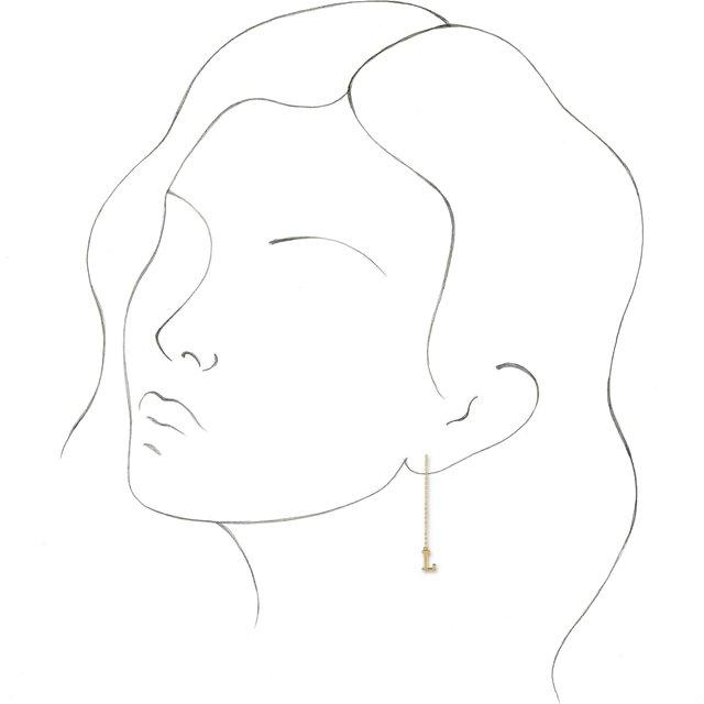 14K Rose Single Initial E Chain Earring