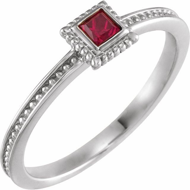 14K White Ruby Stackable Family Ring