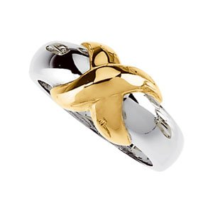 14K White/Yellow X Ring