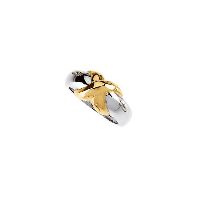 14K White/Yellow X Ring