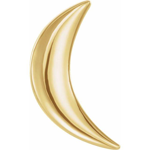 14K Yellow Crescent Moon Single Earring