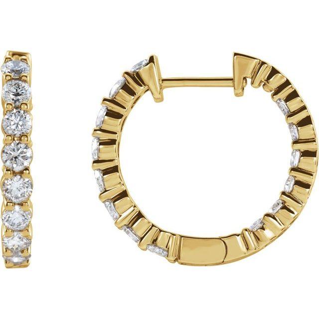 14K Yellow 2 CTW Lab-Grown Diamond Inside-Outside Hinged 20 mm Hoop Earrings